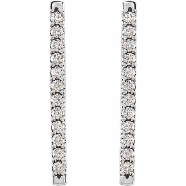 14K White 1/3 CTW Diamond French-Set Bar Earrings