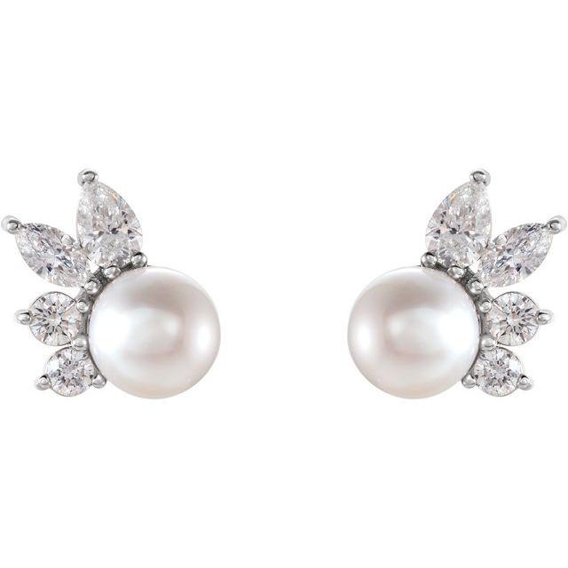 14K White Akoya Cultured Pearl & 1/2 CTW Diamond Earrings