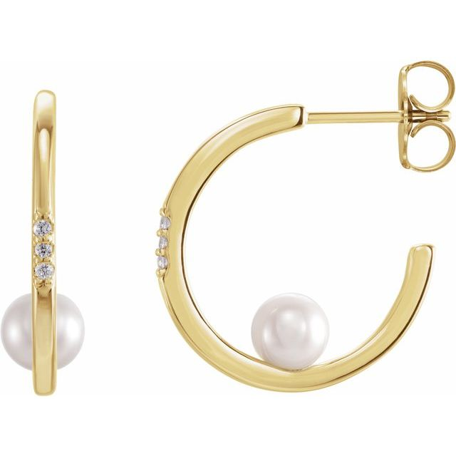 14K Yellow Freshwater Cultured Pearl & .025 CTW Diamond Hoop Earrings