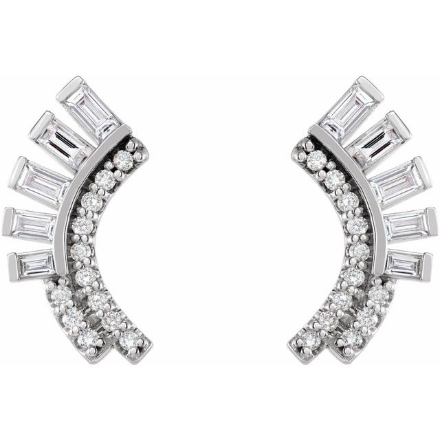 14K White 1/3 CTW Diamond Curved Fan Earrings