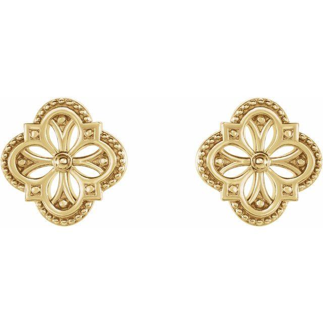 14K Yellow Vintage-Inspired Clover Earrings