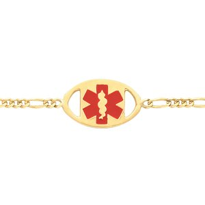 "14K Yellow & Red Enamel Medical Identification 7"" Bracelet"