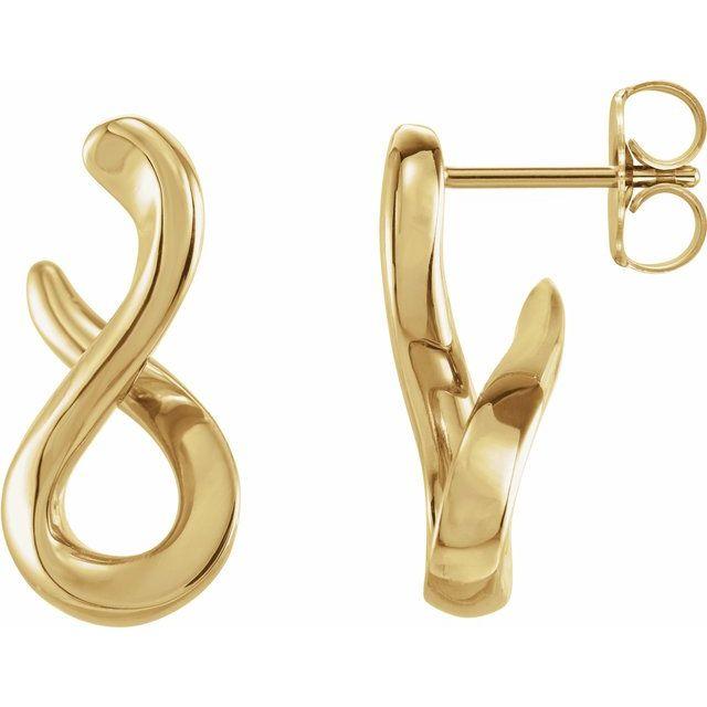 14K Yellow Infinity-Inspired Drop Earrings
