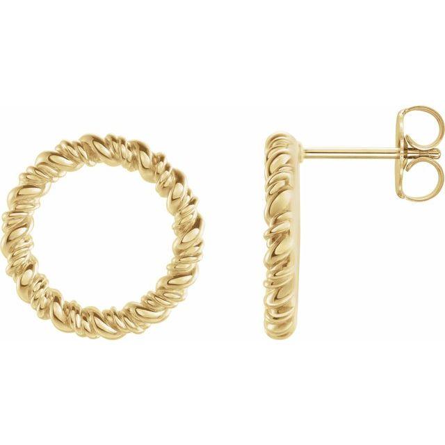 14K Yellow 14.2 mm Circle Rope Earrings