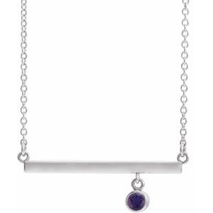 "14K White Amethyst Bezel-Set 16"" Bar Necklace"