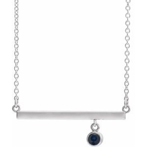 "14K White Blue Sapphire Bezel-Set 18"" Bar Necklace"