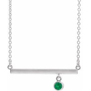 "14K White Emerald Bezel-Set 16"" Bar Necklace"