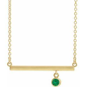 """14K Yellow Chatham® Created Emerald Bezel-Set 18"""" Bar Necklace"""