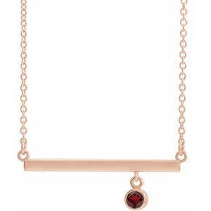 """14K Rose Mozambique Garnet Bezel-Set 18"""" Bar Necklace"""