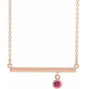 "14K Rose Pink Tourmaline Bezel-Set 18"" Bar Necklace"