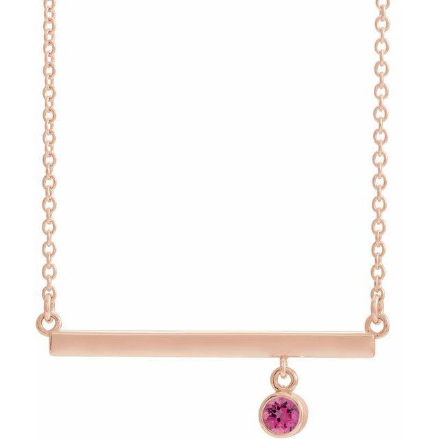 14K Rose Pink Tourmaline Bezel-Set 18