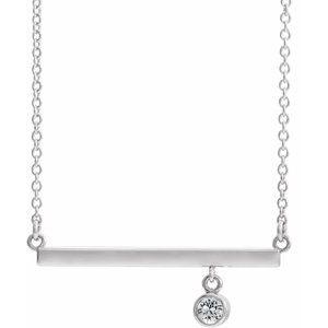 """14K White Diamond Bezel-Set 16"""" Bar Necklace"""