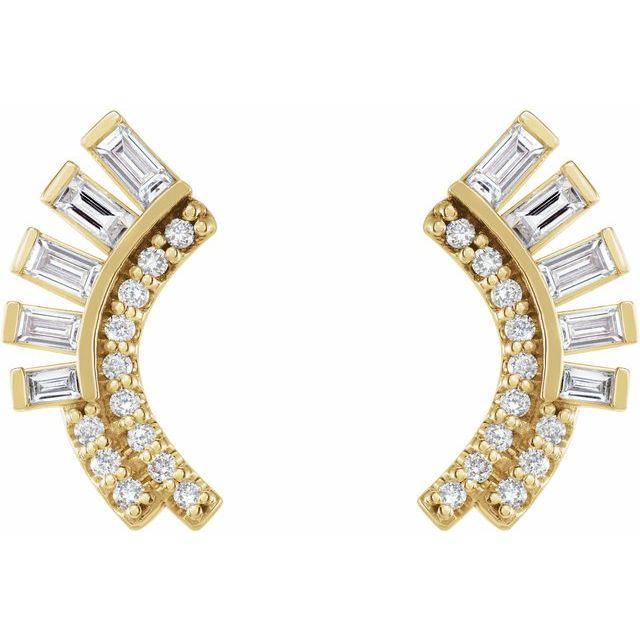 14K Yellow 1/3 CTW Diamond Curved Fan Earrings