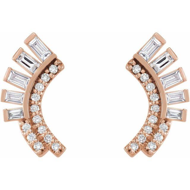 14K Rose 1/3 CTW Diamond Curved Fan Earrings