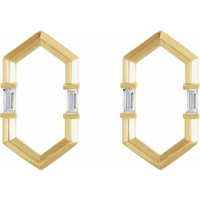14K Yellow 1/3 CTW Diamond Geometric Earrings