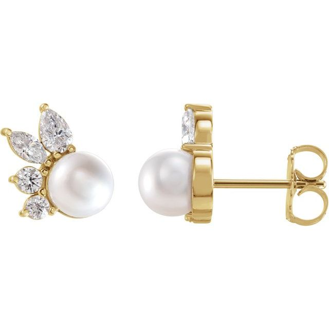 14K Yellow Akoya Cultured Pearl & 1/2 CTW Diamond Earrings