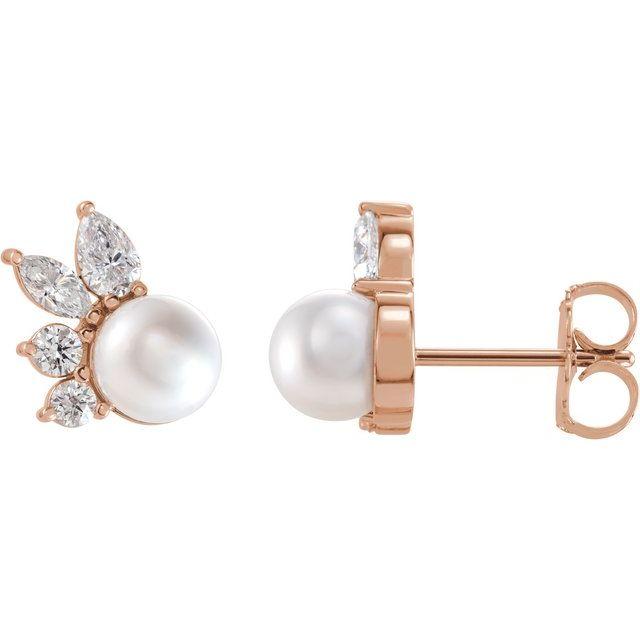 14K Rose Akoya Cultured Pearl & 1/2 CTW Diamond Earrings