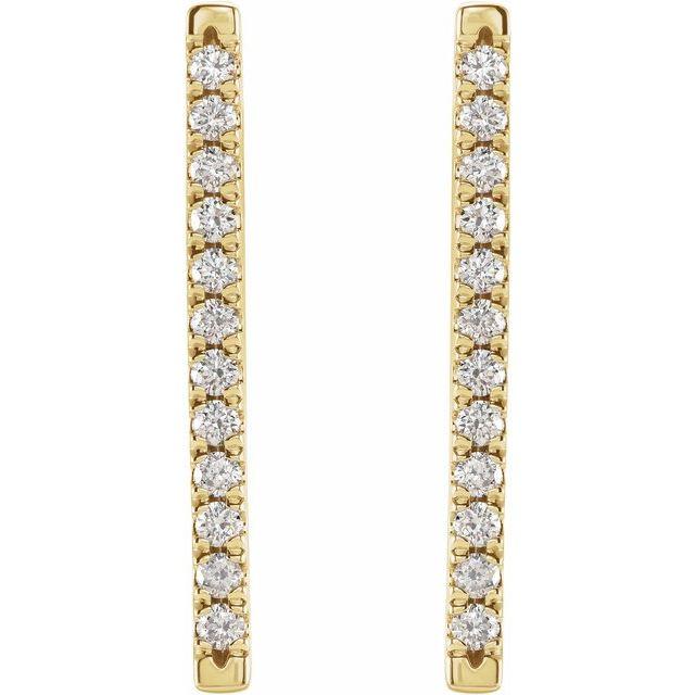 14K Yellow 1/3 CTW Diamond French-Set Bar Earrings
