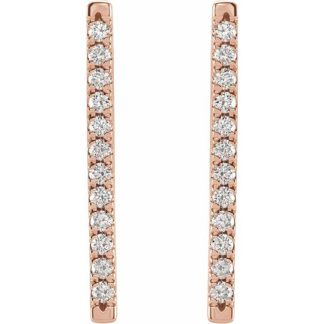 14K Rose 1/3 CTW Diamond French-Set Bar Earrings