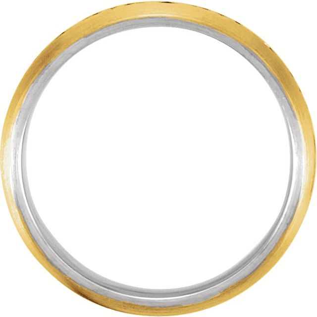 14K Yellow & White 7 mm Laser Pierced Design Band Size 13.5
