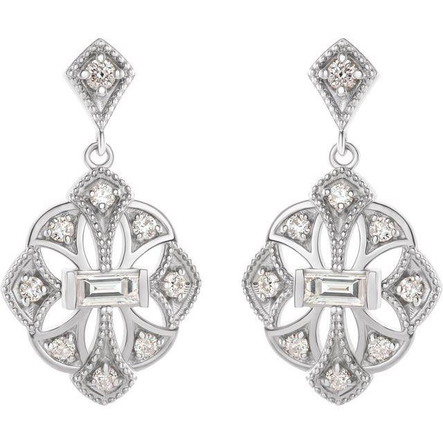 14K White 3/8 CTW Diamond Vintage-Inspired Earrings