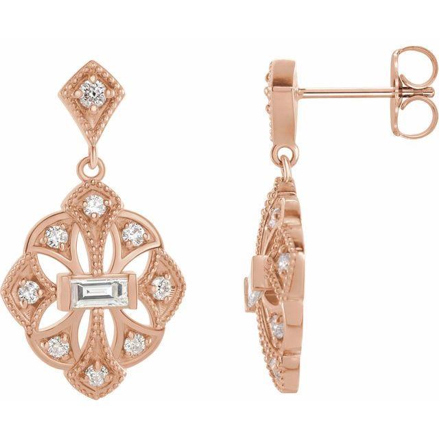 14K Rose 3/8 CTW Diamond Vintage-Inspired Earrings