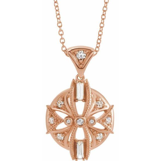 14K Rose 1/4 CTW Diamond Vintage-Inspired 16-18