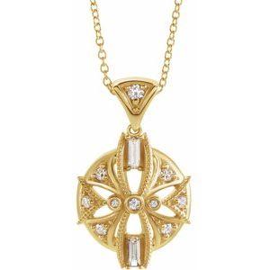 "14K Yellow 1/4 CTW Diamond Vintage-Inspired 16-18"" Necklace"