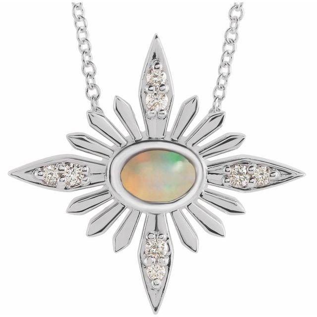 14K White Ethiopian Opal & .08 CTW Diamond Celestial 16-18