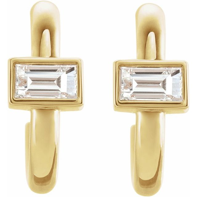 14K Yellow 1/5 CTW Diamond Huggie Earrings