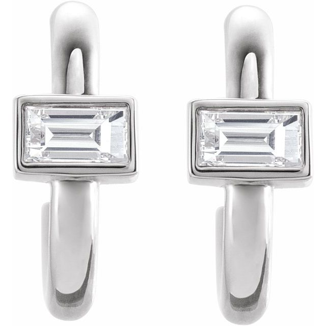 14K White 1/5 CTW Diamond Huggie Earrings