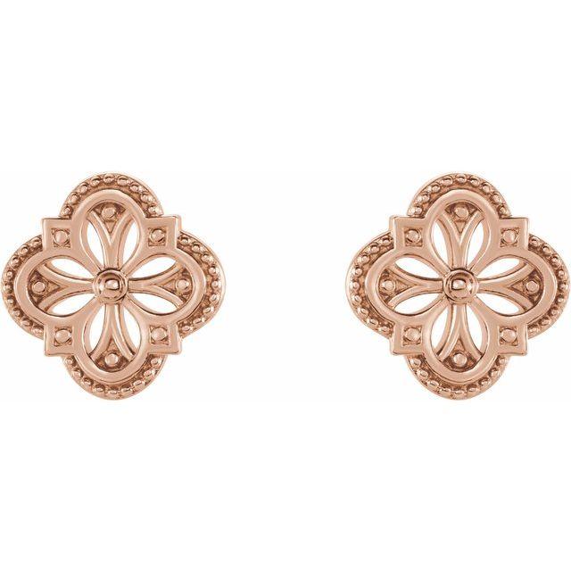 14K Rose Vintage-Inspired Clover Earrings