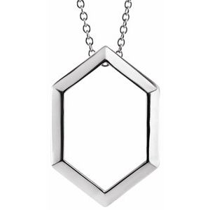 "14K White Geometric 16-18"" Necklace"