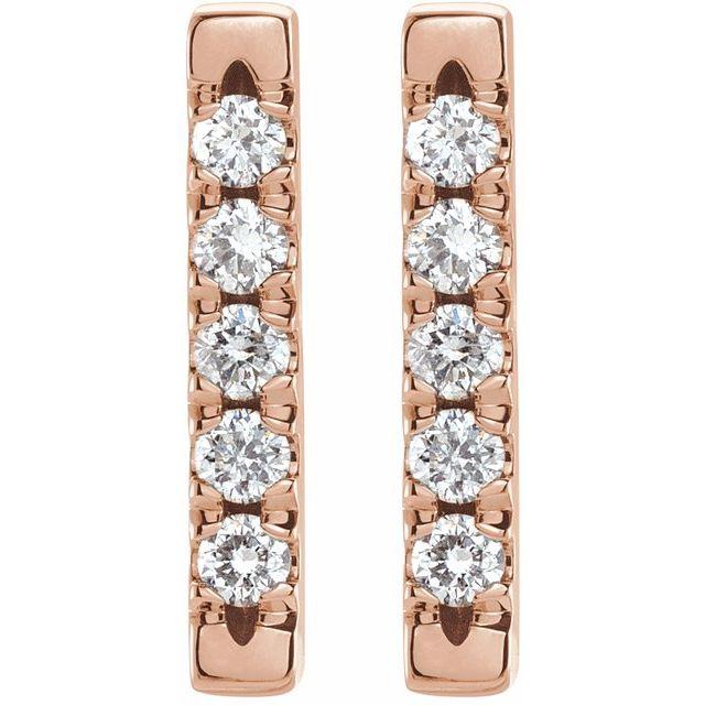 14K Rose 1/8 CTW Diamond French-Set Bar Earrings