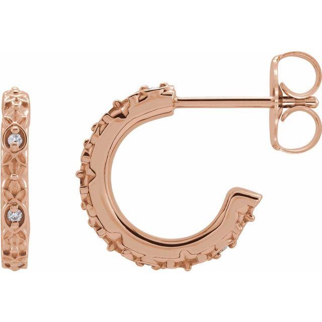14K Rose .05 CTW Diamond Vintage-Inspired Huggie Earrings