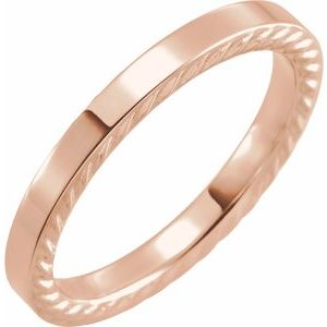 14K Rose 3 mm Rope Pattern Band Size 7