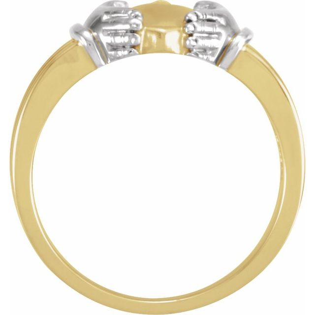 14K Yellow/White Claddagh Ring