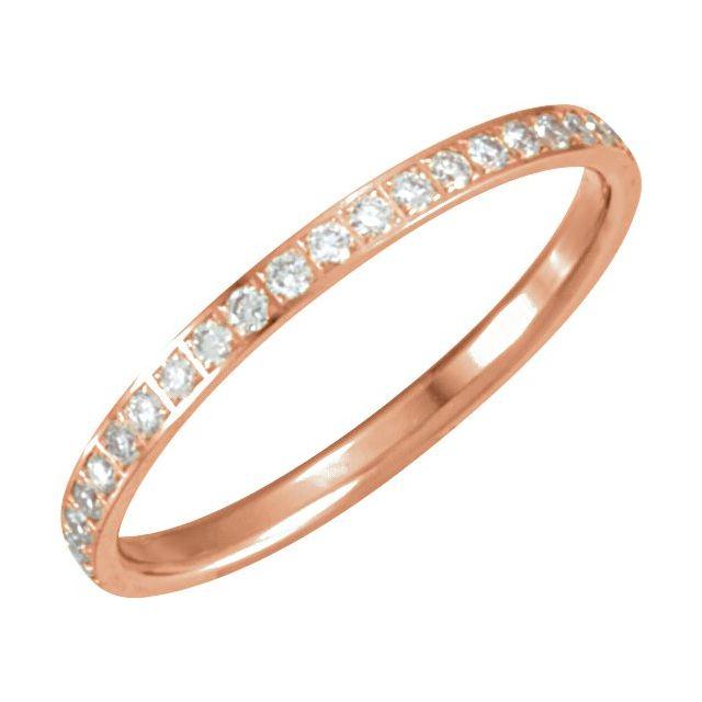 14K Rose 3/8 CTW Diamond Eternity Band Size 7