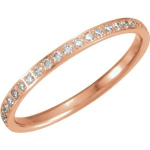14K Rose 1/4 CTW Diamond Anniversary Band Size 7