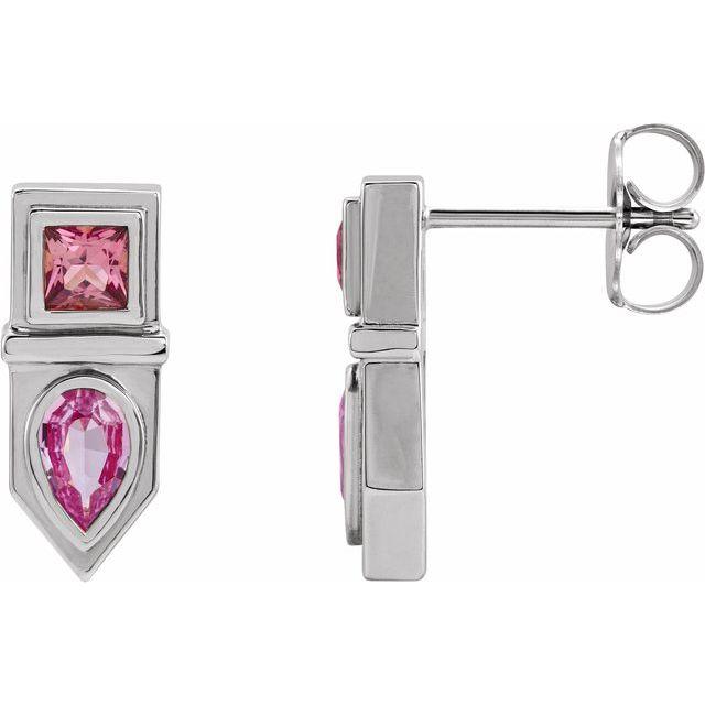 14K White Pink Multi-Gemstone Geometric Bar Drop Earrings
