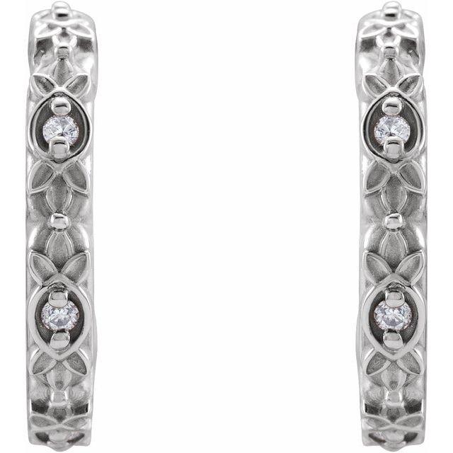 14K White .05 CTW Diamond Vintage-Inspired Huggie Earrings