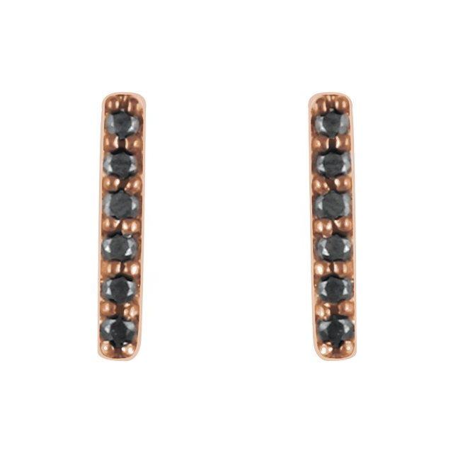 14K Rose 1/10 CTW Black Diamond Bar Earrings