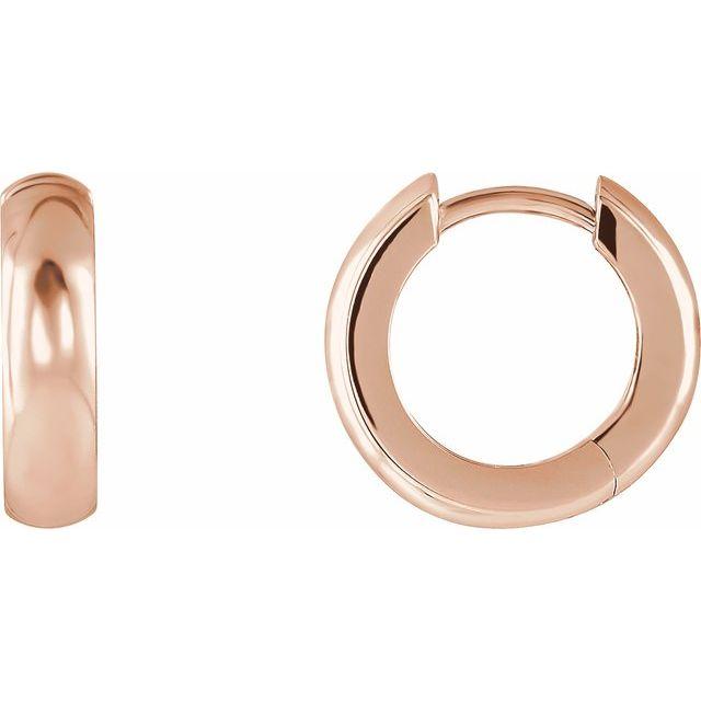 14K Rose 14.25 mm Hinged Hoop Earrings