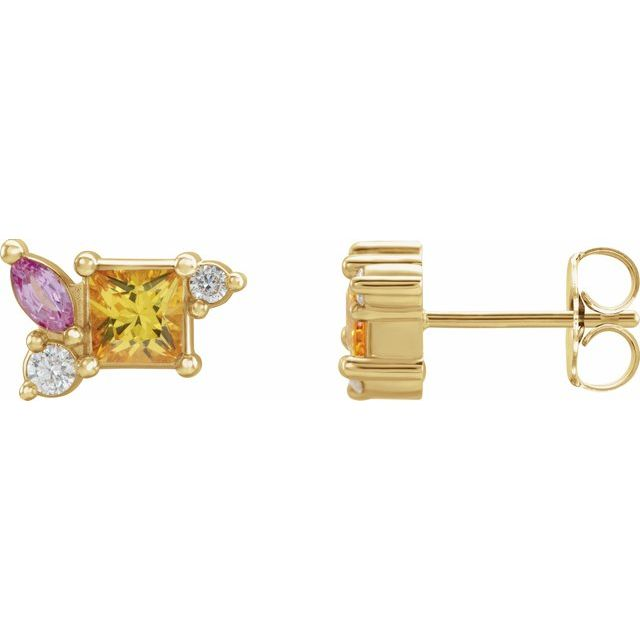 14K Yellow Yellow Sapphire, Pink Sapphire, & 1/8 CTW Diamond Earrings