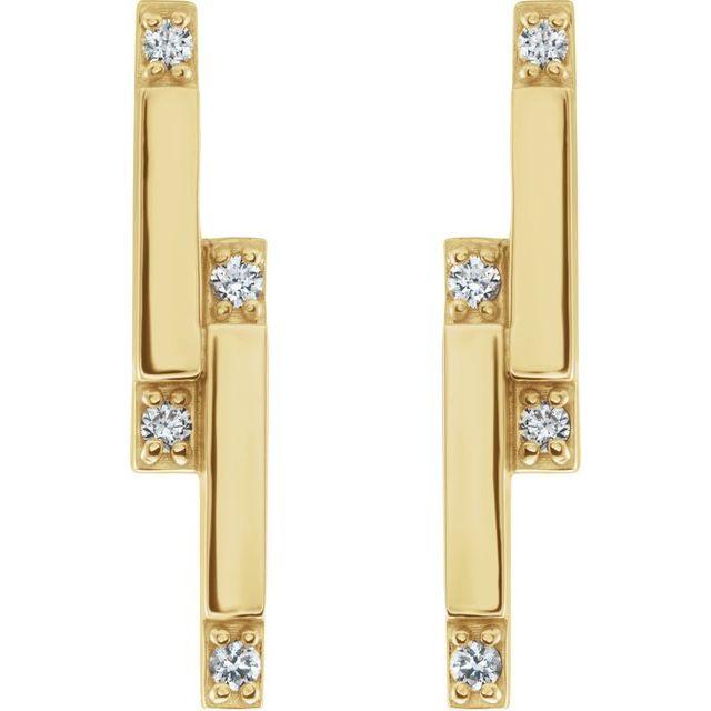 14K Yellow 1/10 CTW Diamond Bar Earrings