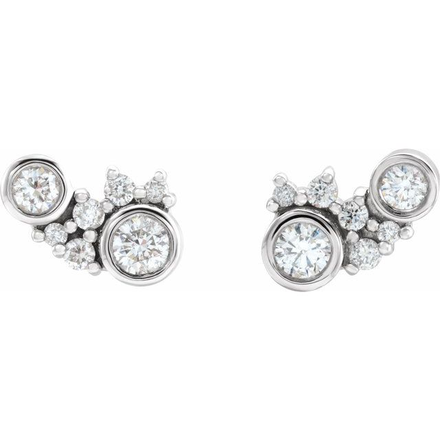 14K White 1/4 CTW Diamond Scattered Bezel-Set Earrings