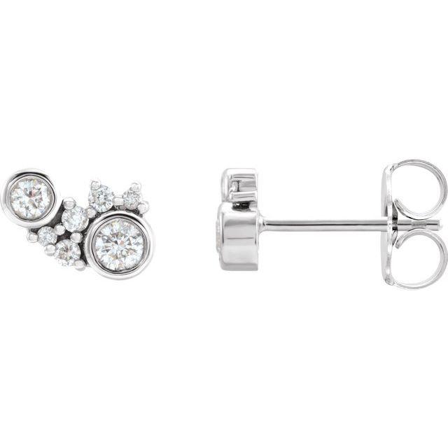 Platinum 1/4 CTW Diamond Scattered Bezel-Set Earrings