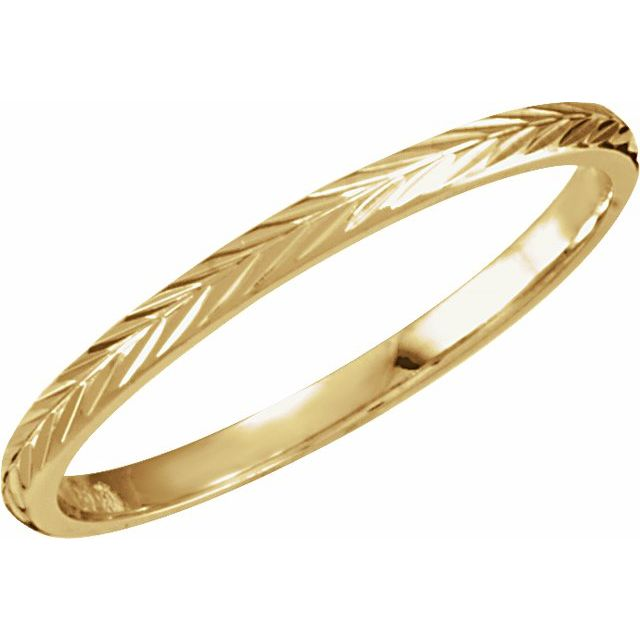 14K Yellow Design-Engraved Band Size 7