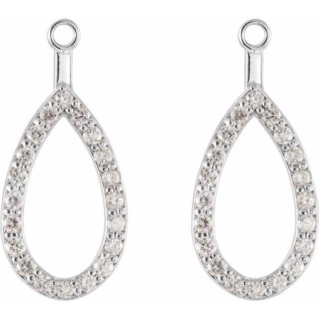 14K White 1/3 CTW Diamond Teardrop Earring Jackets