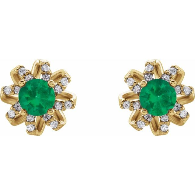 14K Yellow Emerald & 1/6 CTW Diamond Halo-Style Earrings